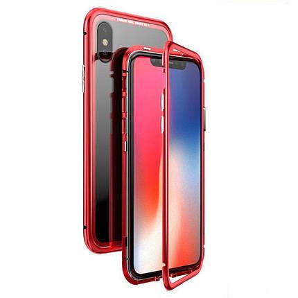 Чехол  накладка xCase для iPhone Х/XS Magnetic Case прозрачный красный, фото 2