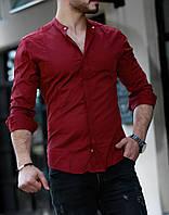 Чоловіча бордова приталені сорочка