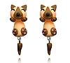 Сережки гвоздики собачки коричневі Дитячі сережки в подарунок дівчинці