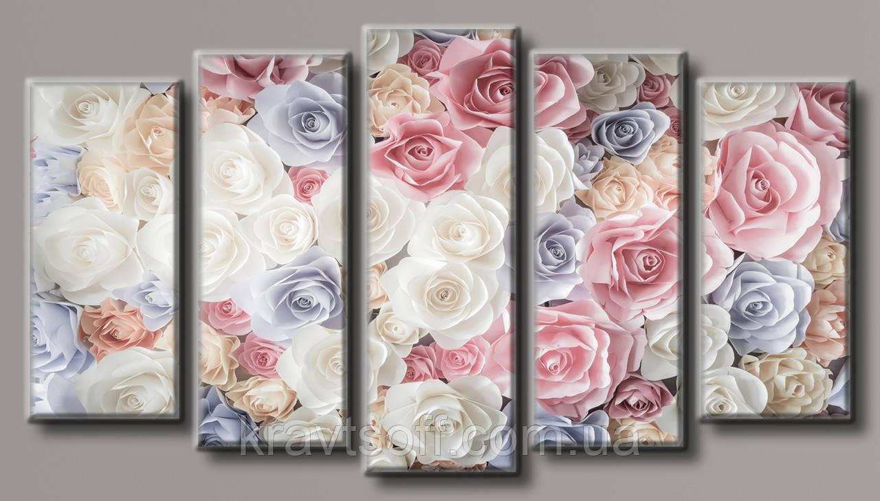 "Модульная картина на холсте из 5 частей ""Нежные розы"" ( 71х128 см ) арт.HAB-100"