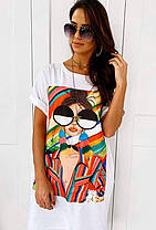 Летнее платье футболка свободное черное и белое, фото 3