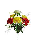 Искусственные цветы Букет Красно-лимонная Гвоздика, 7 голов, 360 мм