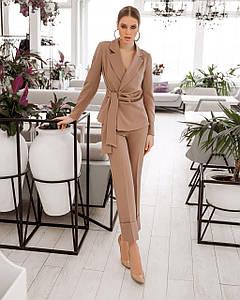 Костюм женский брючный (пиджак драпировка и брюки с манжетами) AniTi 512, мокко