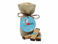 Шоколадний набір, подарунок з передбаченнями Торба щастя чорний шоколад, фото 1