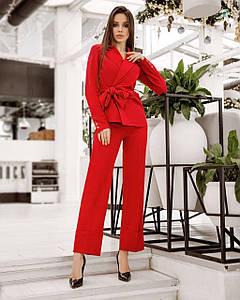 Костюм женский брючный (пиджак драпировка и брюки с манжетами) AniTi 512, красный
