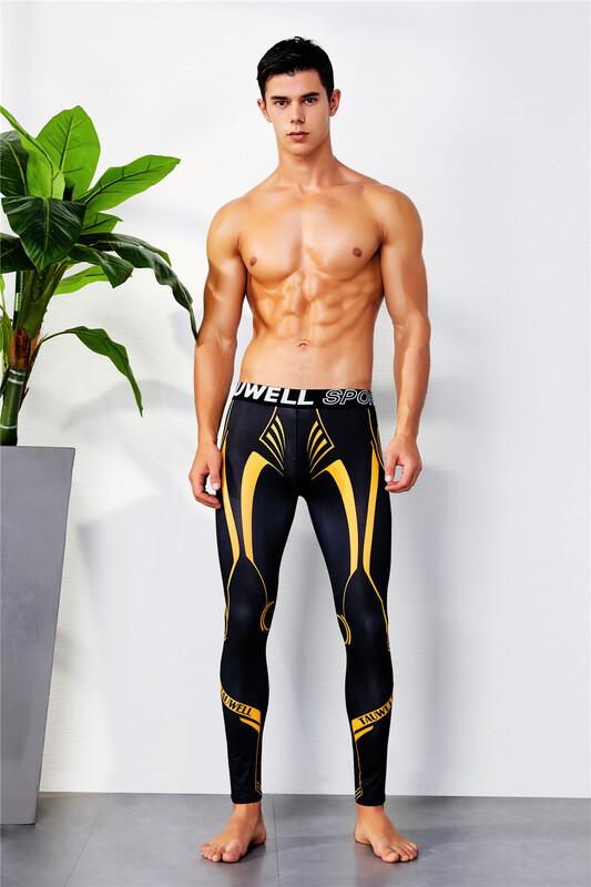Мужские спортивные лосины Tauwell. Цвет: черный с желтым