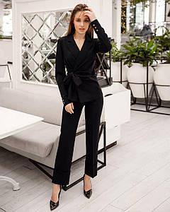 Костюм женский брючный (пиджак драпировка и брюки с манжетами) AniTi 512, черный