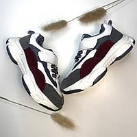 Кросівки дитячі  (26-30) Білі з бордовим для хлопчиків