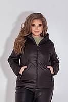 Куртка-ветровка БАТАЛ черная/черного цвета арт.1008