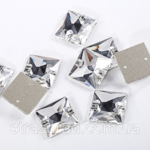 14мм Квадраты пришивные Crystal Стекло