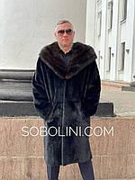 Мужское пальто  из норки с капюшоном из соболя