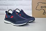 Синие дышащие подростковые кроссовки сетка без шнурка Restime, фото 4
