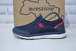 Синие дышащие подростковые кроссовки сетка без шнурка Restime, фото 3