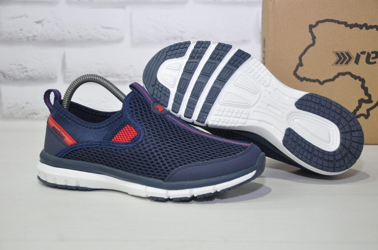 Синие дышащие подростковые кроссовки сетка без шнурка Restime
