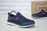 Синие дышащие подростковые кроссовки сетка без шнурка Restime, фото 5