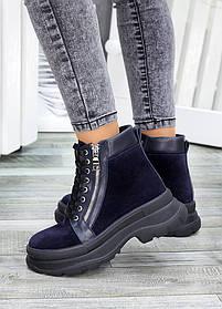 Шикарные женские синие ботинки демисезонные из замши внутри-байка, шерсть, размеры от 36 до 40