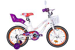 """Велосипед 16"""" Formula FLOWER PREMIUM 2021 (бело-оранжевый c фиолетов)"""