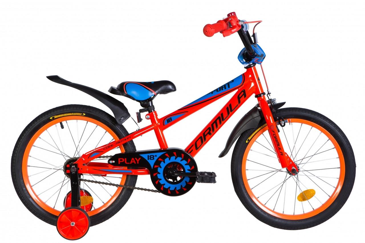 """Велосипед 18"""" Formula SPORT 2021 (оранжево-синий с черным)"""
