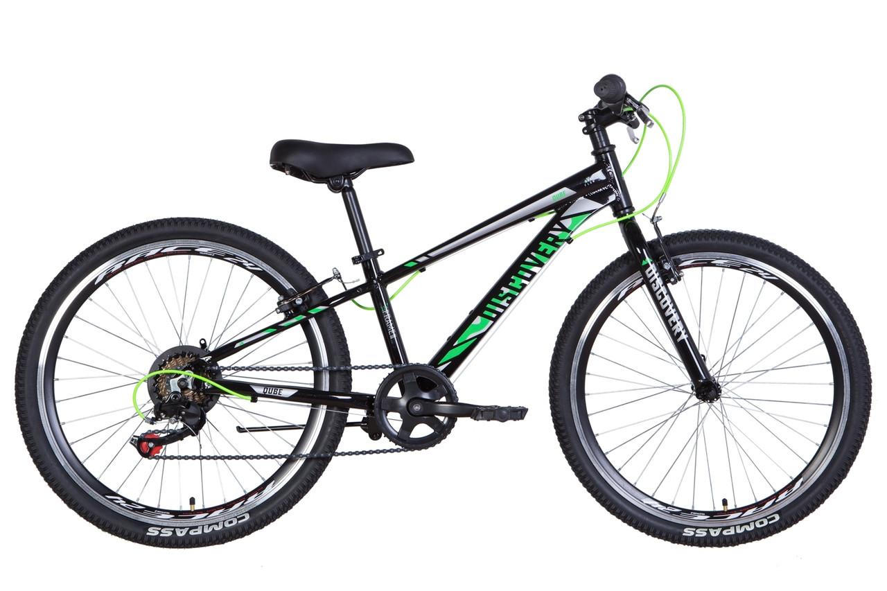 "Велосипед 24"" Discovery QUBE 2021 (чорно-зелений)"