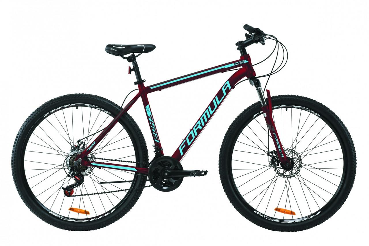"""Велосипед 29"""" Formula THOR 2.0 2020 (бургундський з чорним і синім (м))"""