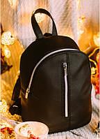 Женский черный кожаный рюкзак Sambag Mane, фото 1