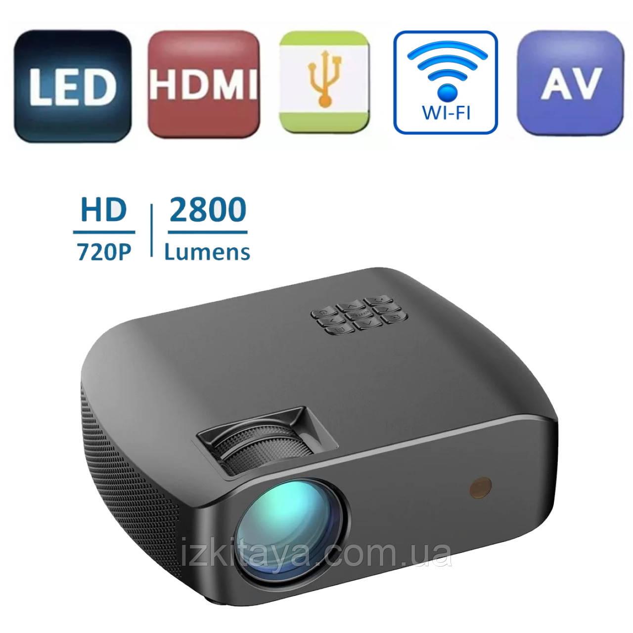 Проектор мультимедийный F10 WIFI (портативный лед проектор для дома и офиса с вай фай)
