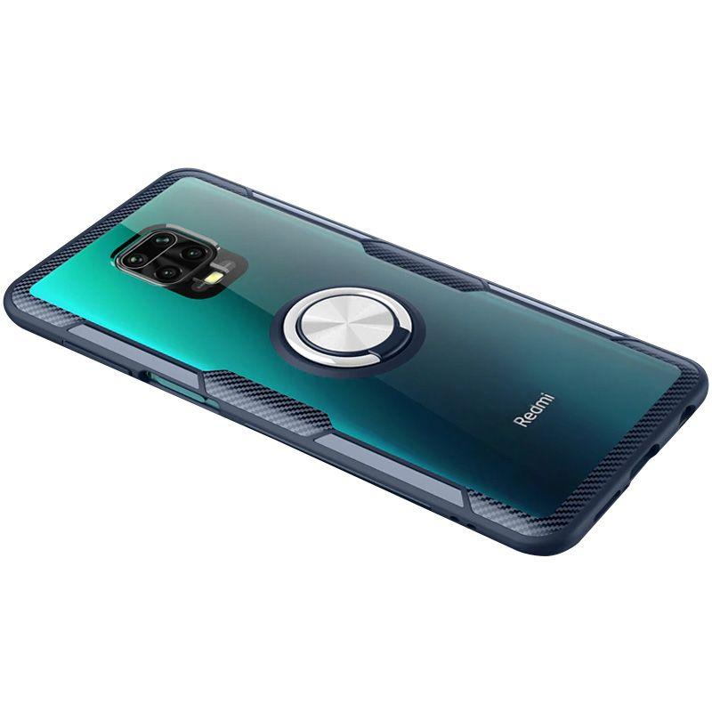 Чехол Deen CrystalRing Xiaomi Redmi Note 9s, Note 9 Pro, Note 9 Pro Max Clear/Dark Blue