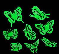 Наклейка светящаяся Бабочки 3D декор