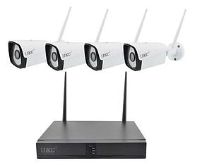 Комплект видеонаблюдения беспроводной DVR KIT CAD Full HD UKC 8004/6673 WiFi 4ch набор на 4 камеры