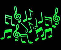 Наклейка светящаяся Музыкальные ноты 3D декор