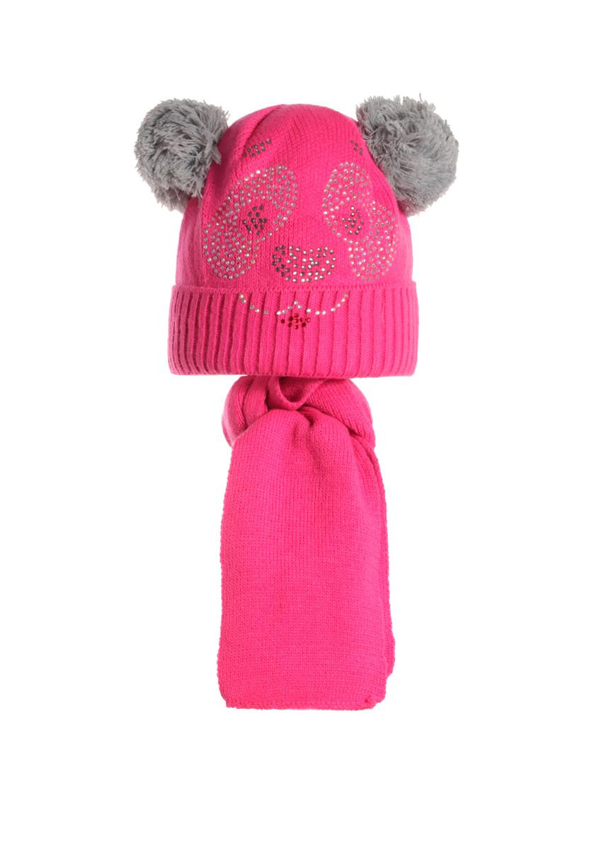 Детский комплект: вязаная шапочка с бумбонами и шарфик, Польша.