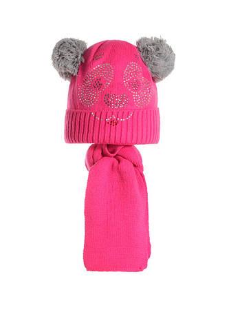 Детский комплект: вязаная шапочка с бумбонами и шарфик, Польша., фото 2