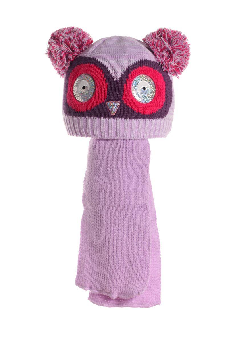 Детский оригинальный комплект: вязаная шапочка в виде филина и шарфик, Польша.