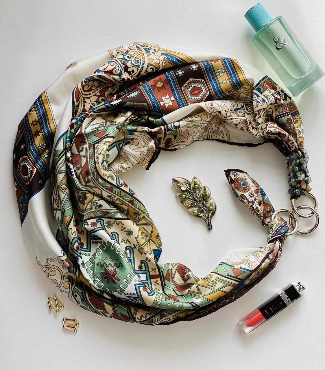 """Шовковий хустку """"смарагдовий шовк"""" від my scarf, подарунок жінці. преміум колекція!"""