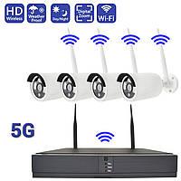 Комплект видеонаблюдения беспроводной Full HD WIFI 5G на 4 камеры с регистратором для улицы дома