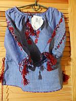 Вишиванка для дівчинки з синього льону ручної роботи