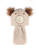 Детская теплая вязаная шапочка на мальчика и шарфик, Польша.