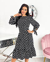 Женское весеннее платье с длинным рукавом в горошек норма и батал новинка 2021