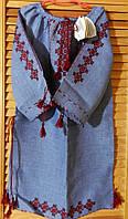 Сукня для дівчинки з синього льону ручної роботи