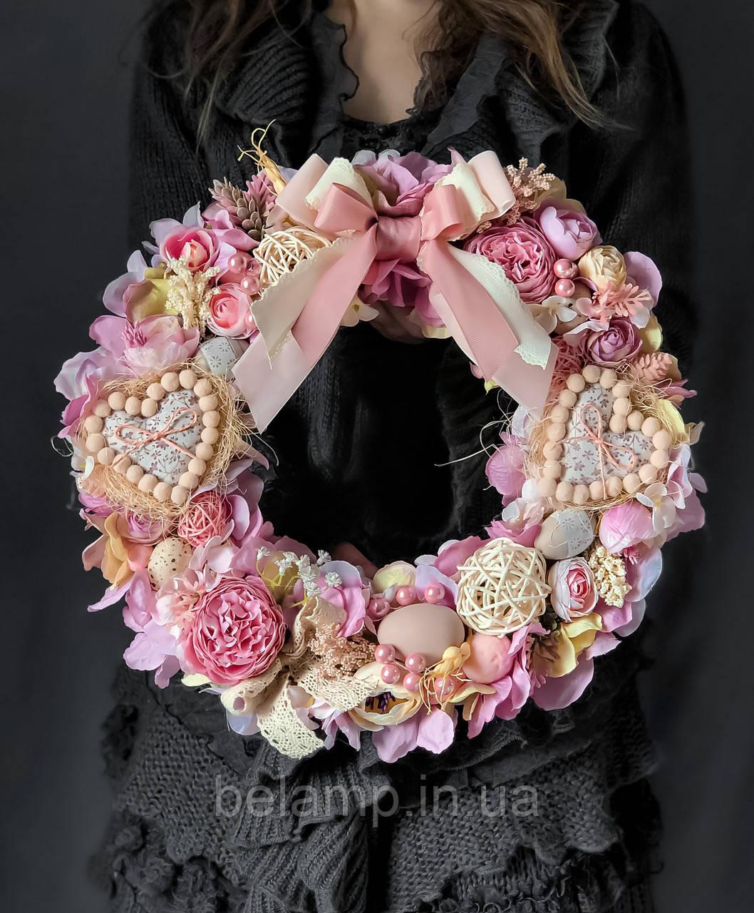 Пасхальный венок на стол или двери «Розовые мечты»