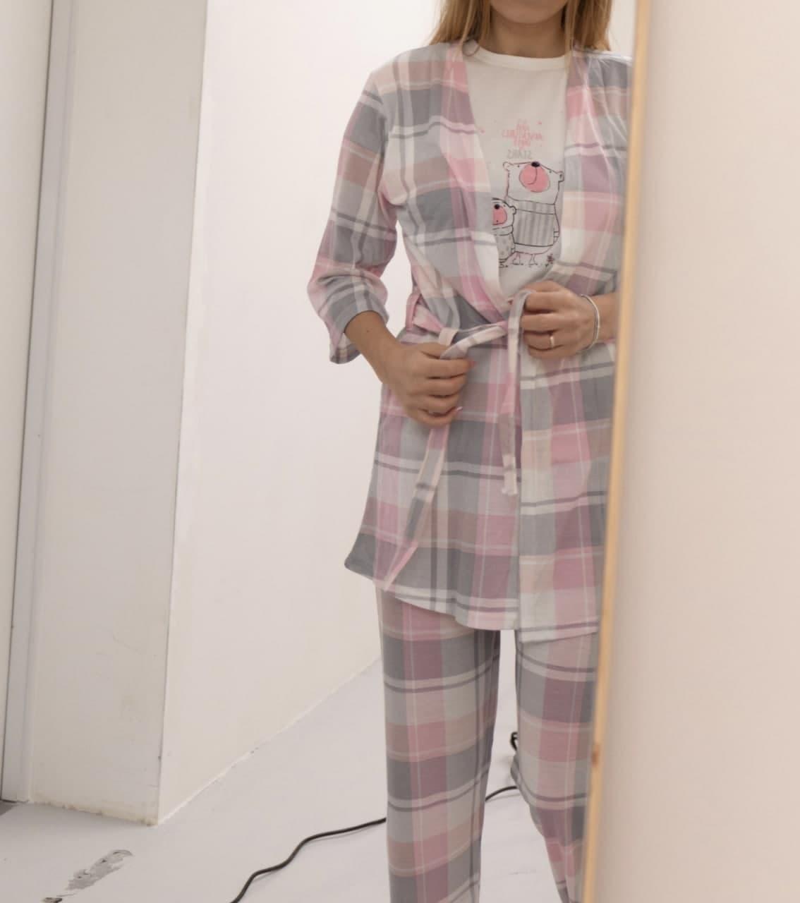 Домашний костюм 5в1 халат, футболка, штаны, маска, тапки хлопок Турция