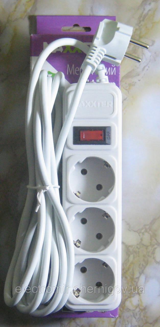 Сетевой фильтр Maxxter 3 розетки 3 метра (белый)