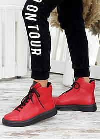 Крутые красные женские кожаные ботинки с утеплителем, размеры от 36 до 40