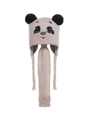 Наборчик Панда - шапочка на флисе с ушками из натурального кролика и шарфик, фото 3