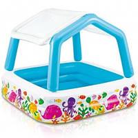 Детский бассейн надувной со съёмной крышей 157-122см 282л Intex 57470