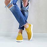 Жовті шкіряні жіночі кеди, фото 4