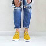 Жовті шкіряні жіночі кеди, фото 5