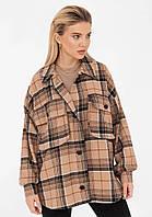 Женская куртка рубашка весенняя объемная серая коричневая в клетку оверсайз стильная купить в Украине