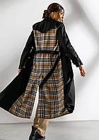Женский тренч плащ черный миди длинный в клеточку с поясом стильный модный купить в Украине