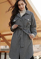 Женское пальто рубашка демисезонное длинное с поясом серое светлое модное купить в Украине